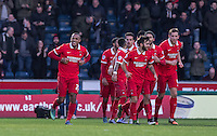 Celebrations as Jay Simpson (left() of Leyton Orient scores his goal during the Sky Bet League 2 match between Wycombe Wanderers and Leyton Orient at Adams Park, High Wycombe, England on 23 January 2016. Photo by Andy Rowland / PRiME Media Images.