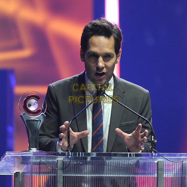 LAS VEGAS - APRIL 23: Paul Rudd accepts the Male Star of the Year award at the CinemaCon 2015 Big Screen Achievement Awards at The Colosseum at Caesars Palace on April 23, 2015 in Las Vegas, Nevada. <br /> CAP/MPI/PGFM<br /> &copy;PGFM/MPI/Capital Pictures