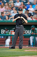 Home plate umpire Nathan Diederich between innings of the Midwest League game between the West Michigan Whitecaps and the Fort Wayne TinCaps at Parkview Field on August 5, 2019 in Fort Wayne, Indiana. The TinCaps defeated the Whitecaps 9-3. (Brian Westerholt/Four Seam Images)