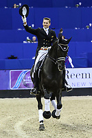 OMAHA, NEBRASKA - MAR 30: Edward Gal waves to the crowd during the award ceremony after the completion of the FEI World Cup Dressage Final I at the CenturyLink Center on March 30, 2017 in Omaha, Nebraska. Edward Gal finished fourth aboard Glock's Voice. (Photo by Taylor Pence/Eclipse Sportswire/Getty Images)