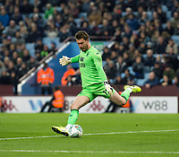 30th October 2019; Villa Park, Birmingham, Midlands, England; English Football League Cup, Carabao Cup, Aston Villa versus Wolverhampton Wanderers; Aston Villa Goalkeeper Jed Steer kicking the ball down field - Strictly Editorial Use Only. No use with unauthorized audio, video, data, fixture lists, club/league logos or 'live' services. Online in-match use limited to 120 images, no video emulation. No use in betting, games or single club/league/player publications