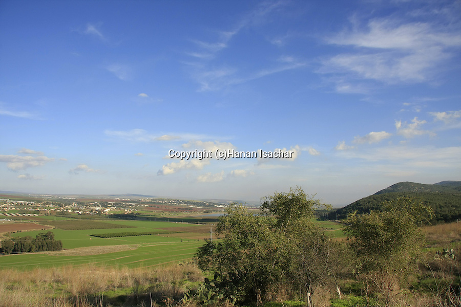 Israel, Tel Jezreel at the foothill of Mount Gilboa overlooking Jezreel valley