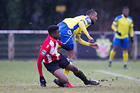 Ralston Gabriel of Haringey Borough follows through as his strike on goal is thwarted during AFC Hornchurch vs Haringey Borough, Bostik League Division 1 North Football at Hornchurch Stadium on 10th February 2018