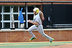 WAKE FOREST, NC - APRIL 15: Notre Dame's Jake Johnson races home for Notre Dame's second run in the first inning. The Wake Forest Demon Deacons hosted the University of Notre Dame Fighting Irish on April 15, 2017, at David F. Couch Ballpark in Wake Forest, NC in a Division I College Baseball game. Wake Forest won the game 13-7.