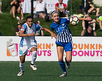 Boston, MA - Saturday August 19, 2017: Marta Vieira Da Silva, Megan Oyster during a regular season National Women's Soccer League (NWSL) match between the Boston Breakers (blue) and the Orlando Pride (white/light blue) at Jordan Field. Orlando Pride defeated Boston Breakers, 2-1.