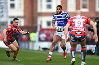 Joe Cokanasiga of Bath Rugby in possession. Gallagher Premiership match, between Gloucester Rugby and Bath Rugby on April 13, 2019 at Kingsholm Stadium in Gloucester, England. Photo by: Patrick Khachfe / Onside Images