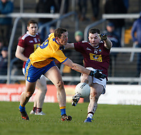 26th January 2020; TEG Cusack Park, Mullingar, Westmeath, Ireland; Allianz Football Division 2 Gaelic Football, Westmeath versus Clare; Cathal O'Connor (Clare) blocks Lorcan Dolan's (Westmeath) shot at goal