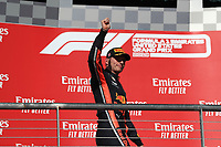 3rd November 2019; Circuit of the Americas, Austin, Texas, United States of America; Formula 1 United States Grand Prix, race day; Aston Martin Red Bull Racing, Max Verstappen after finishing 3rd, on podium - Editorial Use