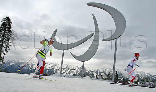 07.03.2014. Sochi, Russia.  Athletes practice Cross Country -  during a training session at Laura Cross-country Ski & Biathlon Center at the Sochi 2014 Paralympic Winter Games, Krasnaya Polyana, Russia, 07 March 2014.