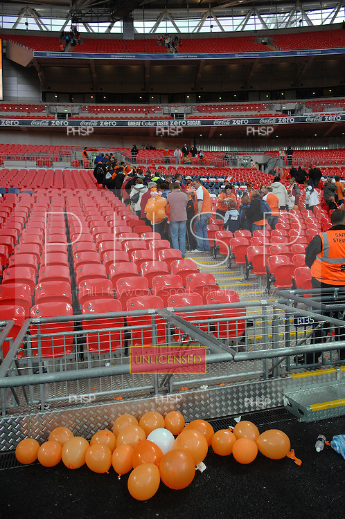 Blackpool fans leave Wembley Stadium after the Seasiders  League 1 Play Off Final 2-0 victory over Yeovil