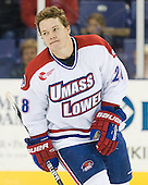 Jake Suter (UML - 28) - The University of Massachusetts-Lowell River Hawks defeated the University of Alabama-Huntsville Chargers 3-0 on Friday, November 25, 2011, at Tsongas Center in Lowell, Massachusetts.