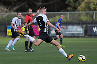Action from the 2018 Men's Central league football match between Miramar Rangers and Waterside Karori at David Farrington Park in Wellington, New Zealand on Saturday, 26 May 2018. Photo: Dave Lintott / lintottphoto.co.nz