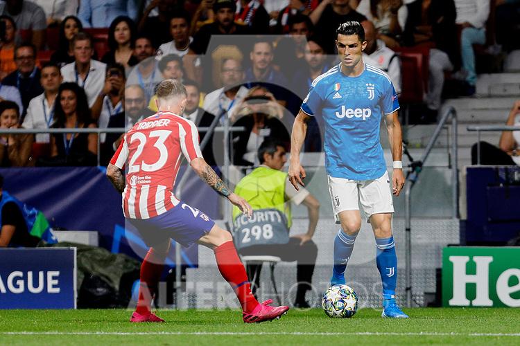 Kieran Trippier of Atletico de Madrid and Cristiano Ronaldo of Juventus during UEFA Champions League match between Atletico de Madrid and Juventus at Wanda Metropolitano Stadium in Madrid, Spain. September 18, 2019. (ALTERPHOTOS/A. Perez Meca)