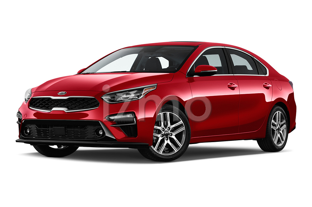 Stock pictures of low aggressive front three quarter view of a 2019 KIA Forte EX 4 Door Sedan