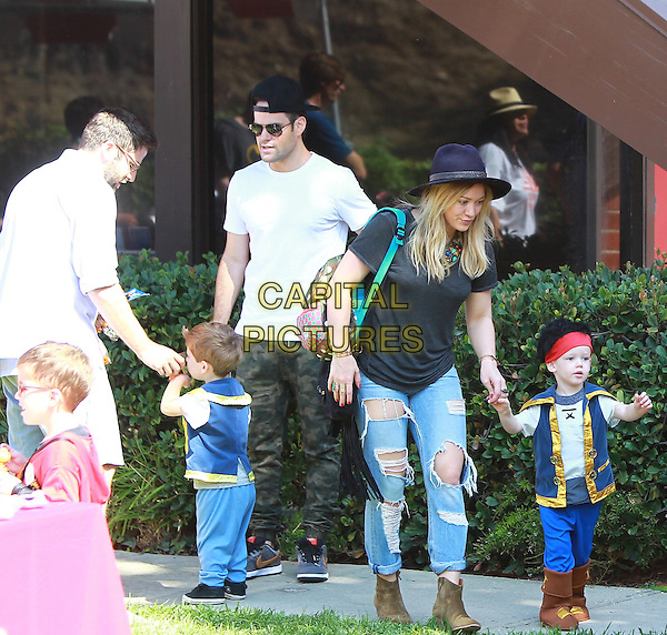 STUDIO CITY, CA; OCTOBER 18: Hilary Duff takes her son Luca to a Halloween Party with her estranged husband Mike Comrie on October 18th, 2014 in Studio City, Los Angeles, California, USA.<br /> CAP/MPI/JM<br /> &copy;John Misa/MediaPunch/Capital Pictures