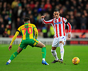 9th February 2019, bet365 Stadium, Stoke-on-Trent, England; EFL Championship football, Stoke City versus West Bromwich Albion; Thomas Ince of Stoke City is confronted by Jacob Murphy of West Bromwich Albion