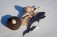 native inupiat crafts made from marine animals include whale bone, Odobenus rosmarus, and baleen, walrus ivory, and seal intestines, Kaktovik, 1002 coastal plain of the Arctic National Wildlife Refuge, Alaska