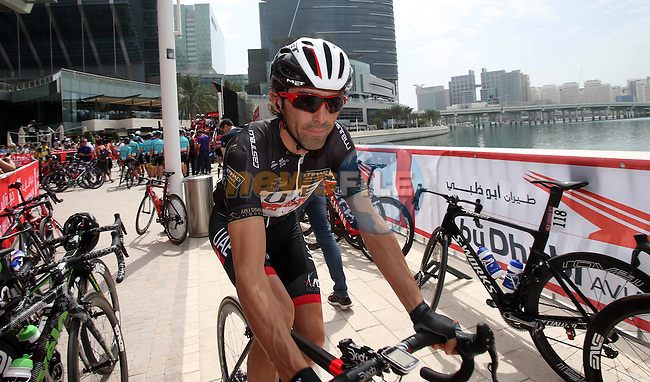 Rui Costa (POR) UAE Abu Dhabi team at sign on before the start of Stage 2 the Nation Towers Stage of the 2017 Abu Dhabi Tour, running 153km around the city of Abu Dhabi, Abu Dhabi. 24th February 2017<br />