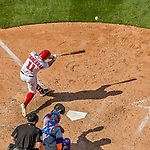 30 April 2017: Washington Nationals first baseman Ryan Zimmerman doubles to deep center to lead off the bottom of the 7th inning against the New York Mets at Nationals Park in Washington, DC. The Nationals defeated the Mets 23-5, with the Nationals setting several individual and team records, in the third game of their weekend series. Mandatory Credit: Ed Wolfstein Photo *** RAW (NEF) Image File Available ***