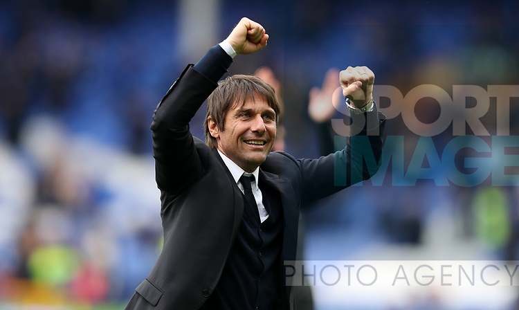 Antonio Conte manager of Chelsea celebrates after winning the English Premier League match at Goodison Park , Liverpool. Picture date: April 30th, 2017. Photo credit should read: Lynne Cameron/Sportimage