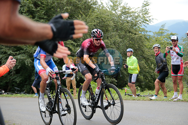 Chris Froome (GBR) Team Ineos 5 mins back as he rounds the final bend before the finish of Stage 3 of the Route d'Occitanie 2020, running 163.5km from Saint-Gaudens to Col de Beyrède, France. 3rd August 2020. <br /> Picture: Colin Flockton | Cyclefile<br /> <br /> All photos usage must carry mandatory copyright credit (© Cyclefile | Colin Flockton)