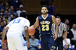 04 November 2016: Augustana's Jordan Spencer (ENG) (23) and Duke's Matt Jones (13). The Duke University Blue Devils hosted the Augustana University Vikings at Cameron Indoor Stadium in Durham, North Carolina in a 2016-17 NCAA Division I Men's Basketball exhibition game.