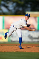Burlington Royals starting pitcher Connor Mayes (37) follows through on his delivery against the Danville Braves at Burlington Athletic Stadium on August 14, 2017 in Burlington, North Carolina.  The Royals defeated the Braves 9-8 in 10 innings.  (Brian Westerholt/Four Seam Images)