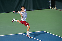 STANFORD, CA - February 22, 2014: Stanford vs Cal men's tennis match in Stanford, California. Final score, Stanford 0, Cal 7.