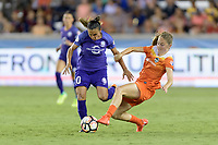 Houston, TX - Saturday June 17, 2017: Janine Beckie attempts to strip the ball from Marta Vieira Da Silva  during a regular season National Women's Soccer League (NWSL) match between the Houston Dash and the Orlando Pride at BBVA Compass Stadium.