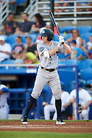 Tampa Tarpons shortstop Kyle Holder (8) at bat during a game against the Dunedin Blue Jays on June 2, 2018 at Dunedin Stadium in Dunedin, Florida.  Dunedin defeated Tampa 4-0.  (Mike Janes/Four Seam Images)