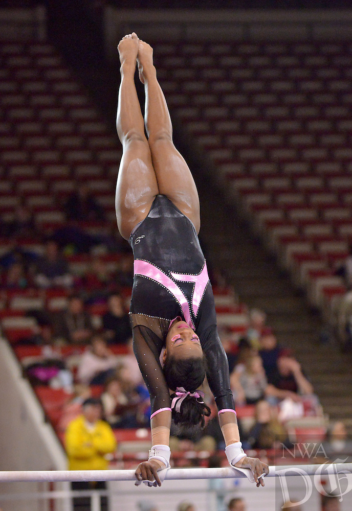 NWA Democrat-Gazette/BEN GOFF -- 02/27/15 Keara Glover of Arkansas competes during the meet against Missouri in Barnhill Arena in Fayetteville on Friday Feb. 27, 2015.