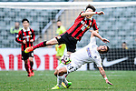 FC Seoul Defender Shin Kwang Hoon (r) collides with Auckland City Midfielder Clayton Lewis (l) during the 2017 Lunar New Year Cup match between Auckland City FC (NZL) and FC Seoul ((KOR) on January 28, 2017 in Hong Kong, Hong Kong. Photo by Marcio Rodrigo Machado/Power Sport Images