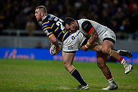Leeds Rhinos' Cameron Smith is tackled by Toronto Wolfpack's Bodene Thompson<br /> <br /> Photographer Alex Dodd/CameraSport<br /> <br /> Betfred Super League Round 6 - Leeds Rhinos v Toronto Wolfpack - Thursday 5th March 2020 - Headingley - Leeds<br /> <br /> World Copyright © 2020 CameraSport. All rights reserved. 43 Linden Ave. Countesthorpe. Leicester. England. LE8 5PG - Tel: +44 (0) 116 277 4147 - admin@camerasport.com - www.camerasport.com