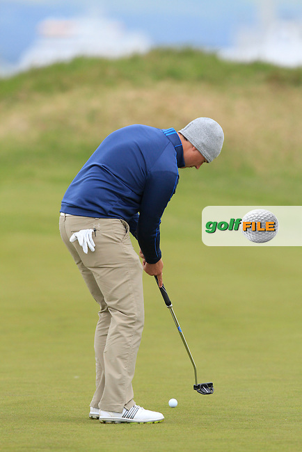 Colm campbell Jnr (Warrenpoint) on the 13th green during Round 3 of the Irish Amateur Open Championship at Royal Dublin on Saturday 9th May 2015.<br /> Picture:  Thos Caffrey / www.golffile.ie