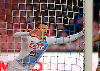 Vlad Chirechesc celebrates after scoring during the  italian serie a soccer match,between SSC Napoli and Torino       at  the San  Paolo   stadium in Naples  Italy , December 18, 2016