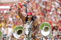 September 03, 2011:   Florida State Seminoles mascot Chief Osceola rides on the field prior the the start of 1st half action between the Florida State Seminoles and the Louisiana Monroe Warhawks at Doak S. Campbell Stadium in Tallahassee, Florida.