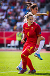 31.08.2019, Auestadion, Kassel, GER, DFB Frauen, EM Qualifikation, Deutschland vs Montenegro , DFB REGULATIONS PROHIBIT ANY USE OF PHOTOGRAPHS AS IMAGE SEQUENCES AND/OR QUASI-VIDEO<br /> <br /> im Bild | picture shows:<br /> Sara Doorsoun (DFB Frauen #23) mit Maja Saranovic (Montenegro #4), <br /> <br /> Foto © nordphoto / Rauch