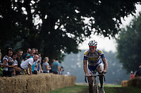Jelle Wallays (BEL/Topsport Vlaanderen-Baloise) coming through the grass section as race leader<br /> <br /> 90th Schaal Sels 2015