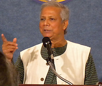 Muhammad Yunus, founder of Grameen Bank and Nobel Peace Prize winner speaking at the National Press Club, Washington, D.C.