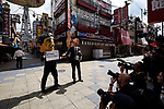 JUNE 28, 2019 - Members of the media photograph demonstrators wearing masks of G20 leaders at a protest against coal power during the G20 Summit in Osaka, Japan. (Photo by Ben Weller/AFLO) (JAPAN) [UHU]