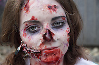 Close up headshot of female participant at the prague Zombi walk in may 2014.