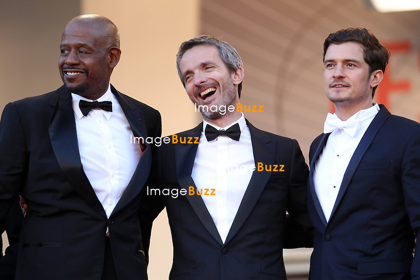 CPE/Actor Orlando Bloom, director Jerome Salle and actor Forest Whitaker attend the 'Zulu' Premiere and Closing Ceremony during the 66th Annual Cannes Film Festival at the Palais des Festivals on May 26, 2013 in Cannes, France