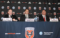 DC United President and CEO Kevin Payne (left) Head Coach Curt Onalfo (center) and President Dave Kasper, at the presentation of the new Head Coach for the 2010 season at RFK Stadium, Tuesday January 5, 2010.