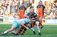 Picture by Allan McKenzie/SWpix.com - 11/02/2018 - Rugby League - Betfred Super League - Castleford Tigers v Widnes Vikings - the Mend A Hose Jungle, Castleford, England - Jake Webster is tackled by Joe Mellor and Matt Whitley.