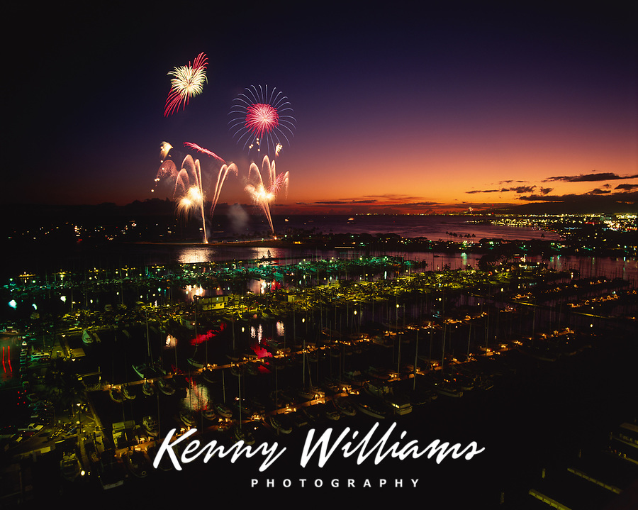 Fourth of July Fireworks, Ala Wai Yacht Harbor, Waikiki, Honolulu, Oahu, Hawaii, USA.