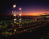 Fourth of July Fireworks, Ala Wai Yacht Harbor, Waikiki, Honolulu, Oahu, Hawaii, USA.