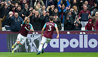 Marko Arnautovic of West Ham United celebrates scoring his first goal during the EPL - Premier League match between West Ham United and Southampton at the Olympic Park, London, England on 31 March 2018. Photo by Andy Rowland.