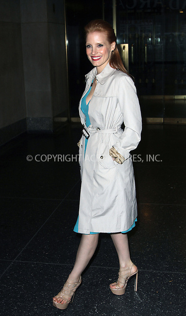 WWW.ACEPIXS.COM....December 6 2012, NewYork City....Actress Jessica Chastain leaves the Today show on december 6 2012 in New York City....By Line: Zelig Shaul/ACE Pictures......ACE Pictures, Inc...tel: 646 769 0430..Email: info@acepixs.com..www.acepixs.com
