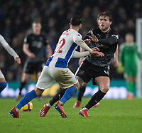 Burnley's Jeff Hendrick (right) battles with Brighton & Hove Albion's Martin Montoya (left) <br /> <br /> Photographer David Horton/CameraSport<br /> <br /> The Premier League - Brighton and Hove Albion v Burnley - Saturday 9th February 2019 - The Amex Stadium - Brighton<br /> <br /> World Copyright © 2019 CameraSport. All rights reserved. 43 Linden Ave. Countesthorpe. Leicester. England. LE8 5PG - Tel: +44 (0) 116 277 4147 - admin@camerasport.com - www.camerasport.com