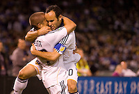 18 April 2009: Landon Donovan of the Galaxy celebrates with Bryan Jordan of the Galaxy after Jordan scored a goal in the second half of the game against the Earthquakes at Oakland-Alameda County Coliseum in Oakland, California.   Earthquakes and Galaxy are tied 1-1.